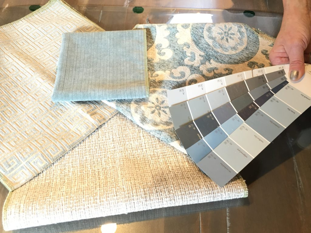 fabric samples and wall color