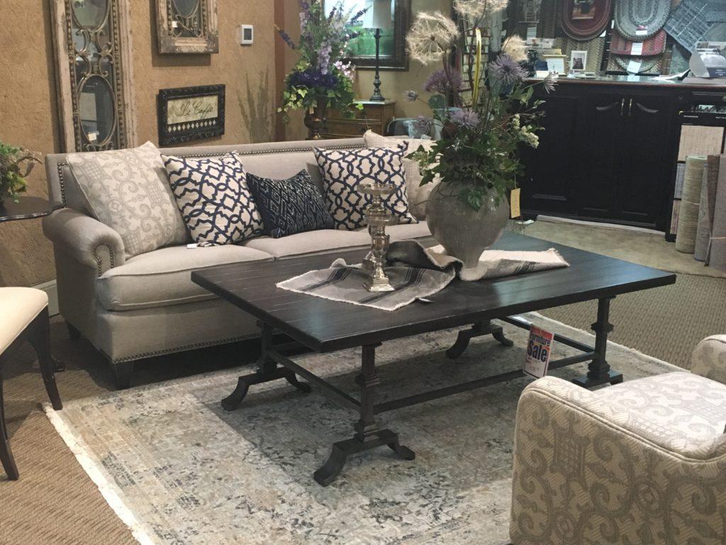 mayo new tie back sofa grey_blue karastan rugs hooker cocktail table_
