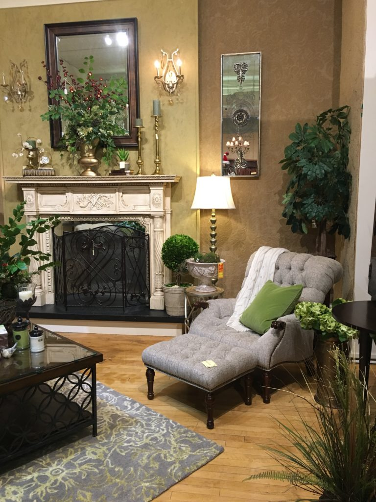 sherrill tufted back chair greenery mantel piece boxwood planted tree