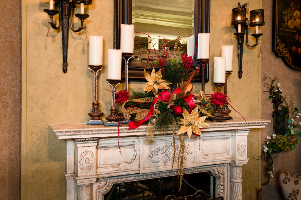 Christmas fireplace mantel piece red gold