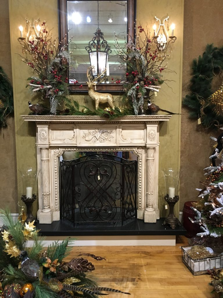 Christmas frosted mantel piece gold deer