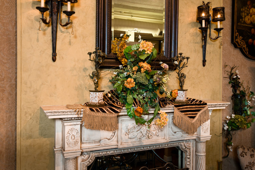 Everyday mantel piece floral arrangement_