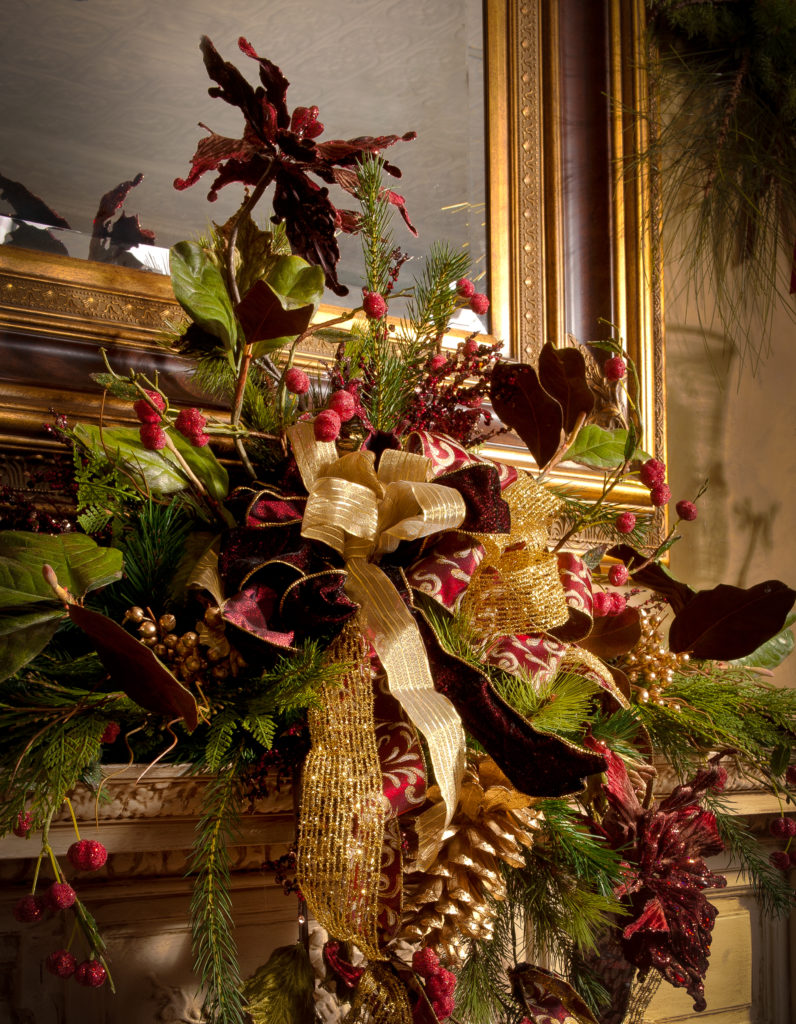 Mantle Centerpiece burgundy Christmas