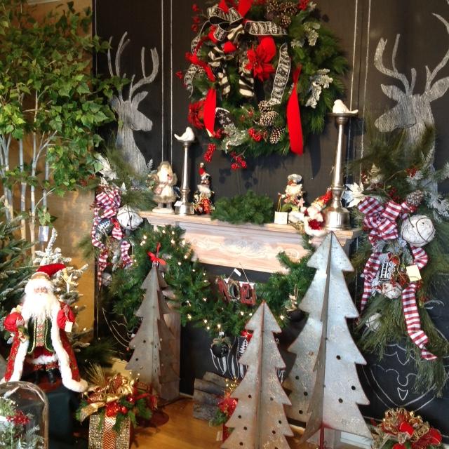 chalkboard Christmas Santa sleigh metal trees _