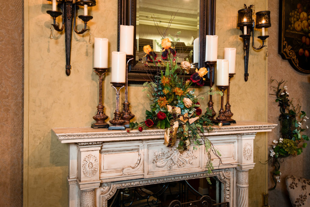 everyday mantle piece arrangement candlesticks mirror_