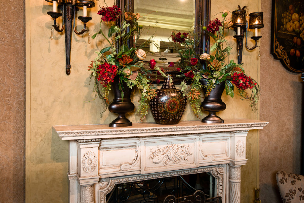 everyday reds_greens floral mantel piece fireplace