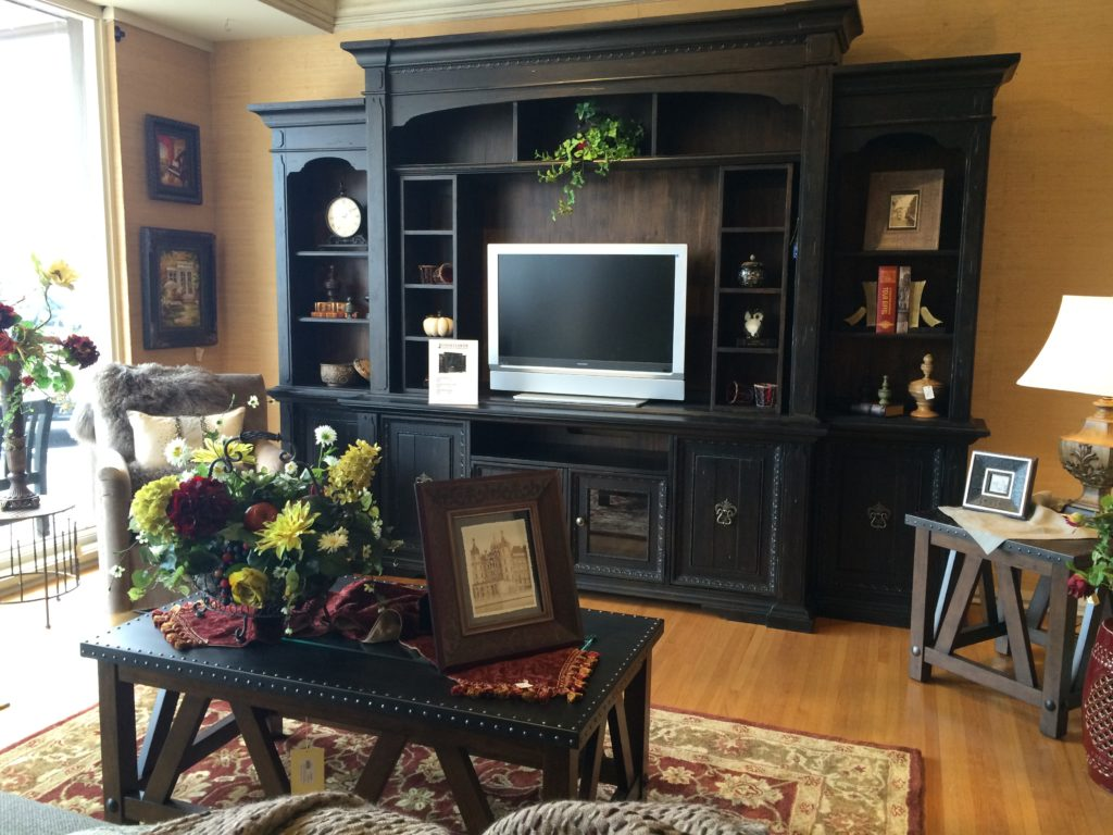 hooker furniture bookcase family room entertainment center floral lamps area rugs nourison _
