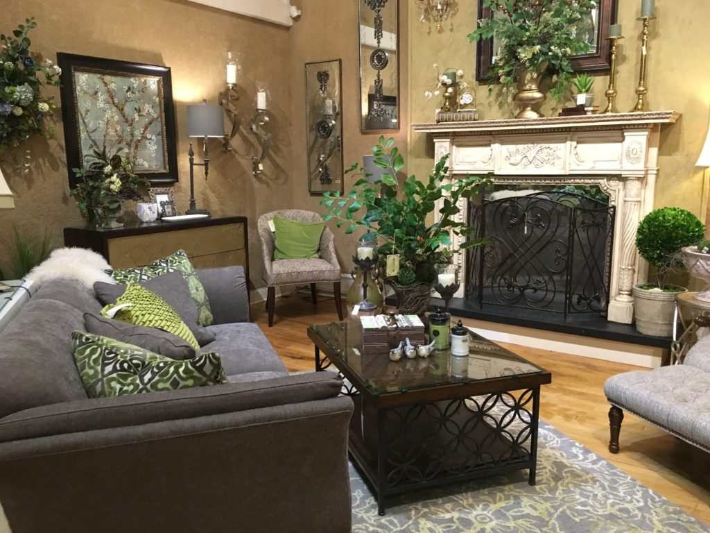 sherrill dc53 sofa grey_grey family room fireplace mantel piece floral_