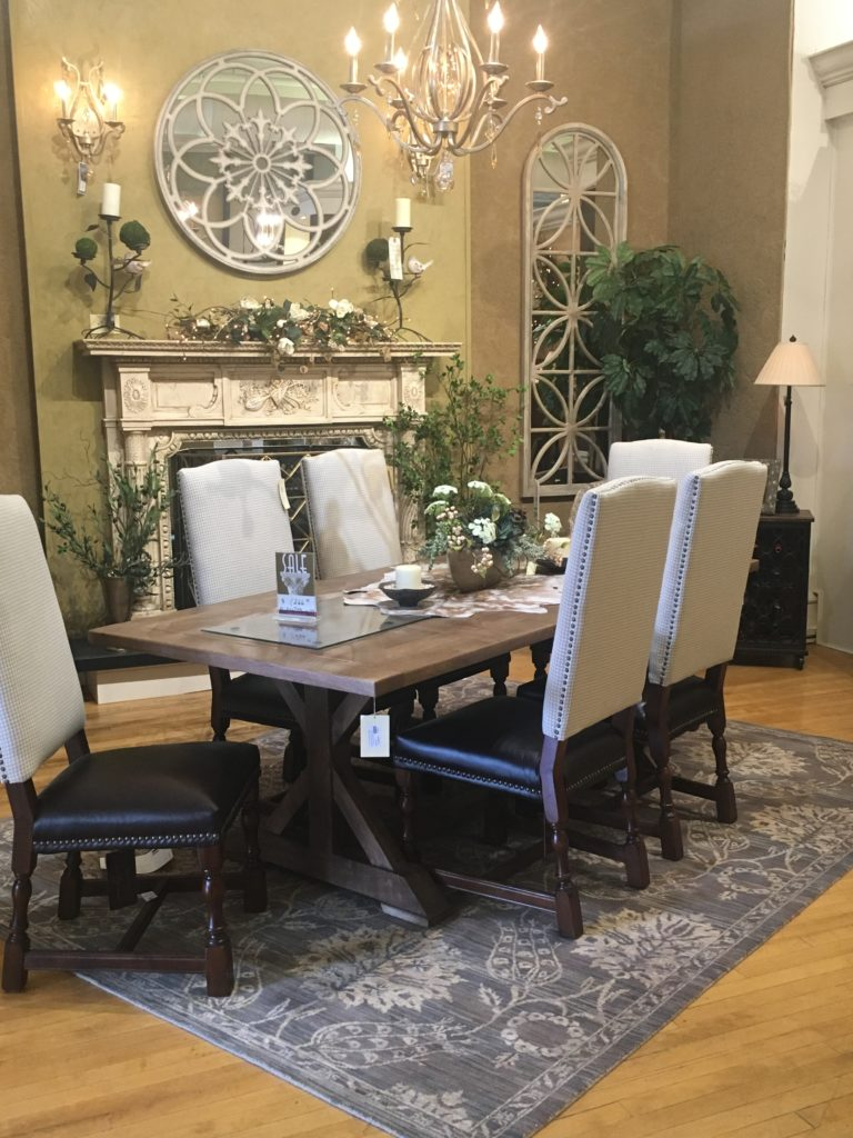 farm house table alder _ tweed chairs and table mirror fireplace mantel piece chandelier wall sconces_