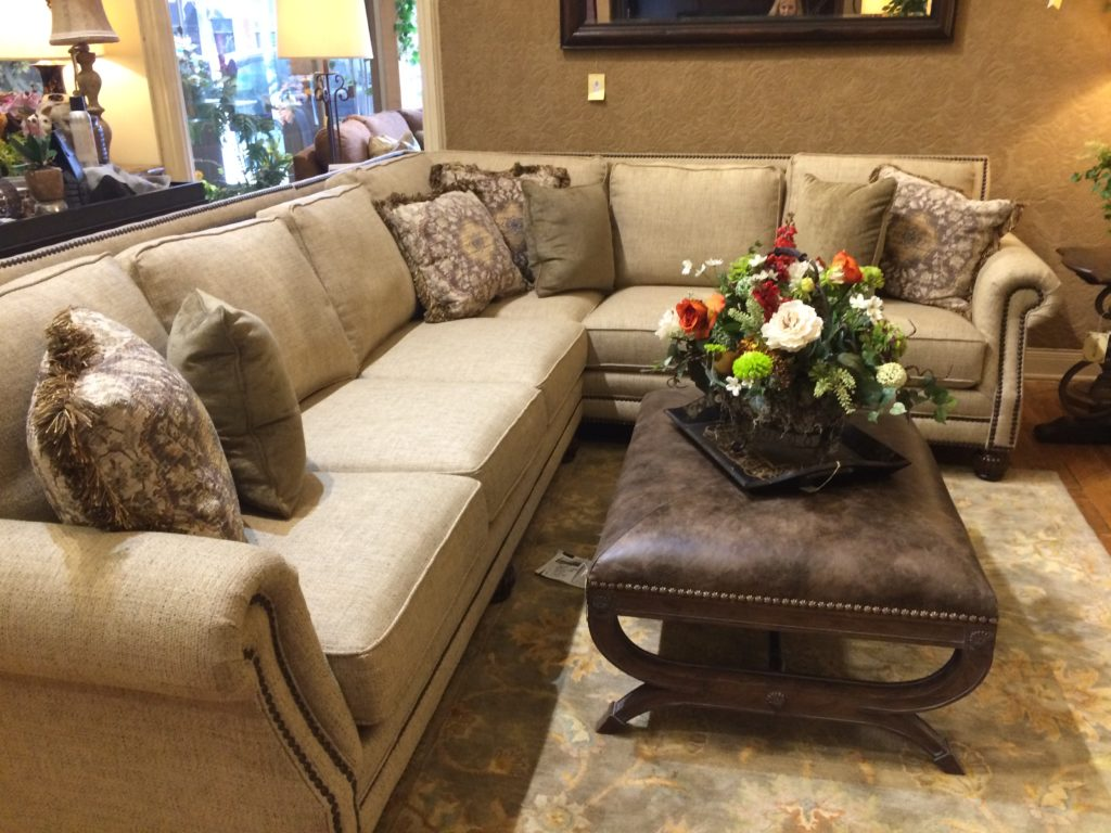 mayo furniture sectional summer floral cocktail table family room setting_