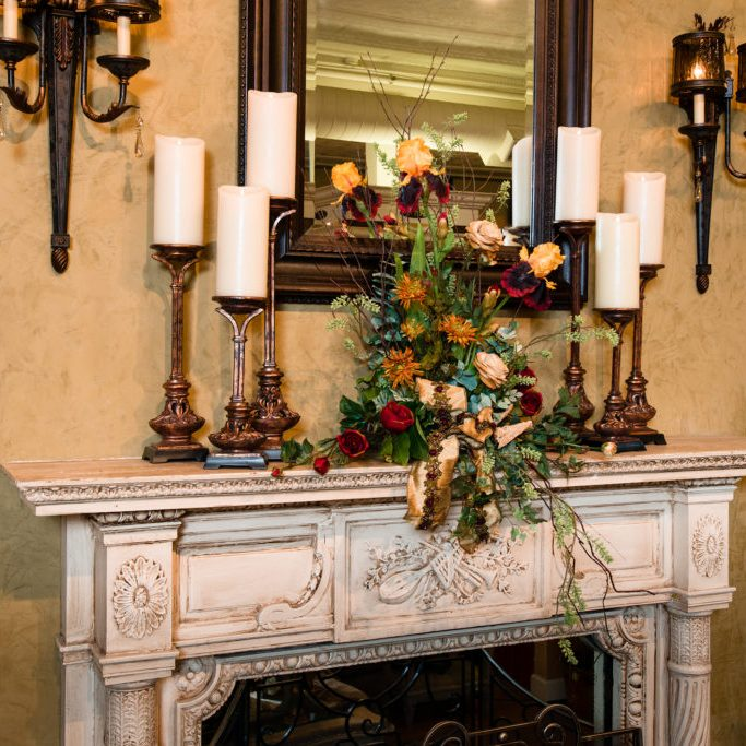mantle floral arrangment fall